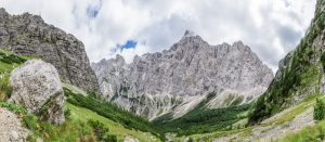 The panorama view of Mount Triglav on the way up to Mount Pihavec.