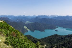 Far below, we saw the turquoise Lake Walchen. Earlier that day we had started from there.